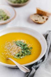 Roasted Kabocha Squash Soup with Sesame Seeds