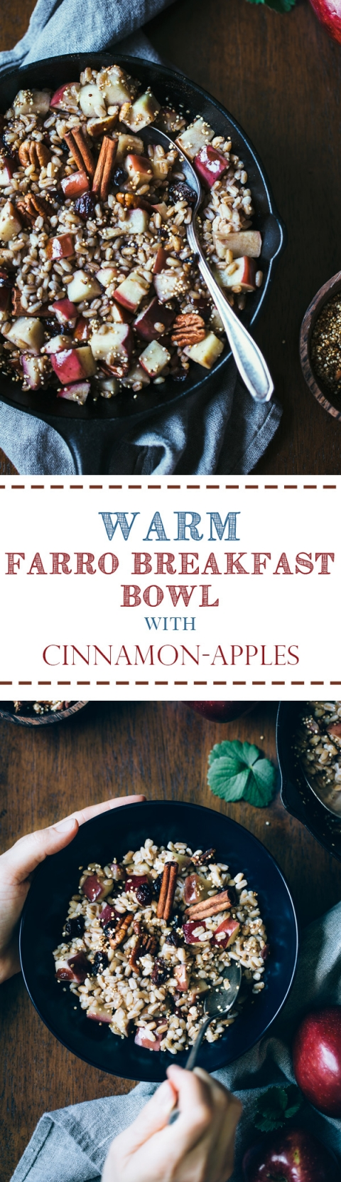 farro breakfast bowl recipe with Cinnamon, apples, and cranberries ...