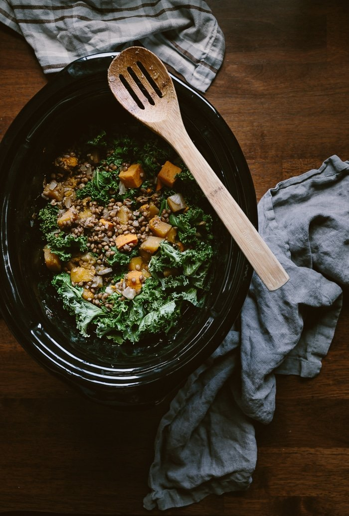 Slow Cooker Butternut Squash Lentil Stew Recipe: Vegan+GF - Put all the ingredients in your crockpot and have dinner ready in 6 hours.