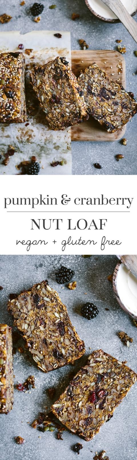 Pumpkin Cranberry Nut Loaf Recipe: A vegan and gluten free pumpkin flavored nut bread.