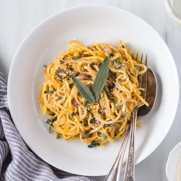 A bowl of Pumpkin Creme Fraiche Pasta with Sage