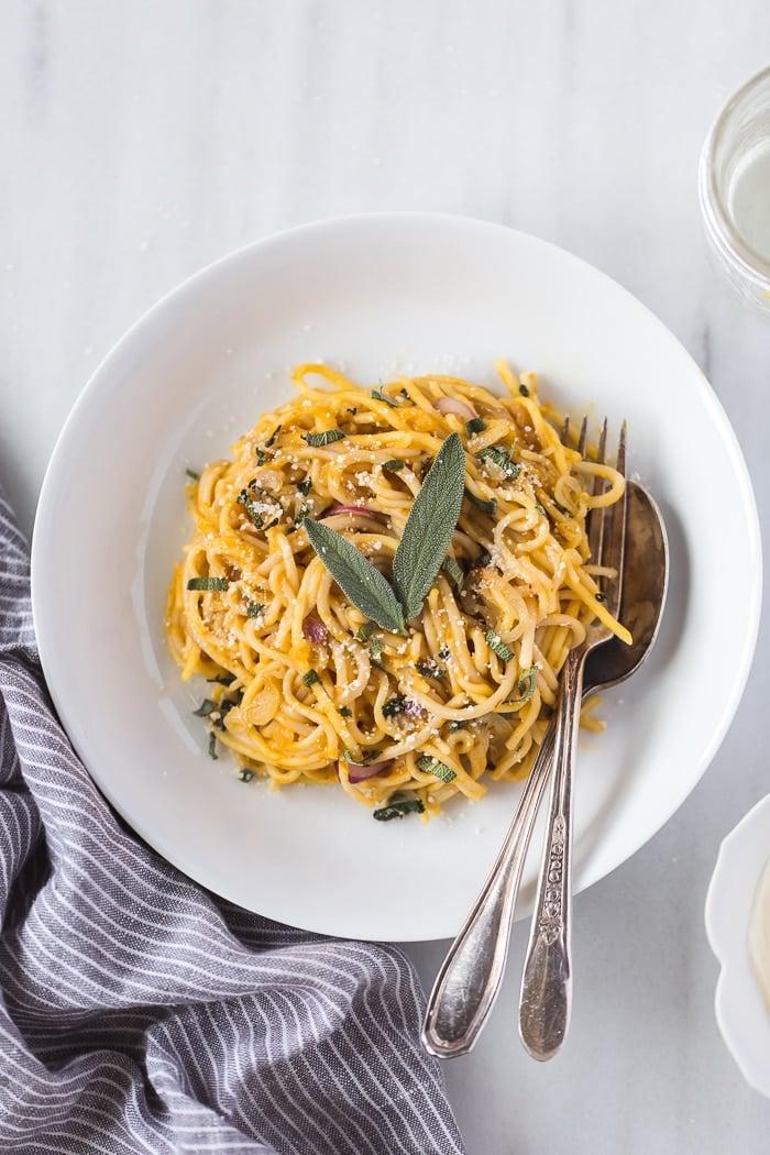 Pumpkin Creme Fraiche Pasta with Sage