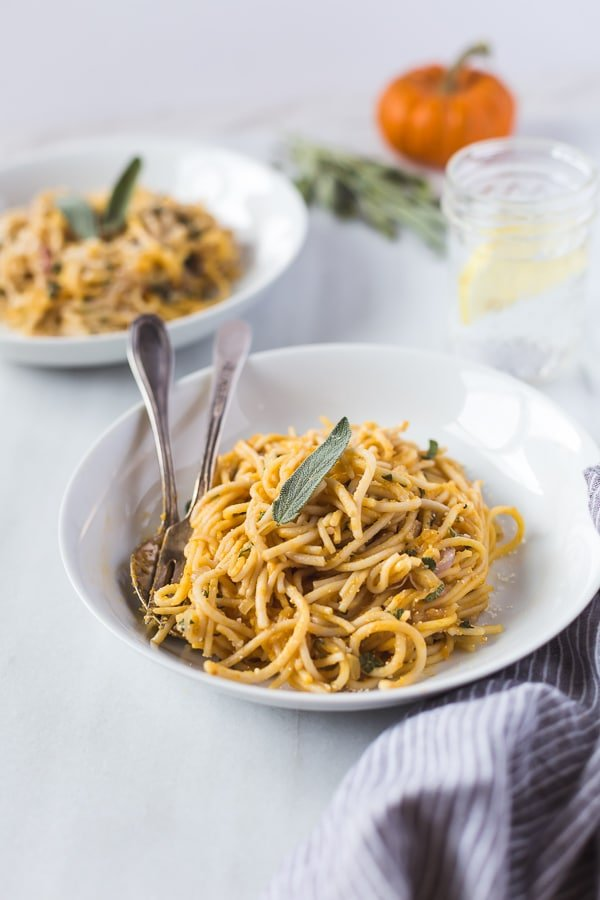 Pumpkin Creme Fraiche Pasta with Sage: An easy and quick to make pasta recipe flavored with pumpkin puree, creme fraiche and sage.