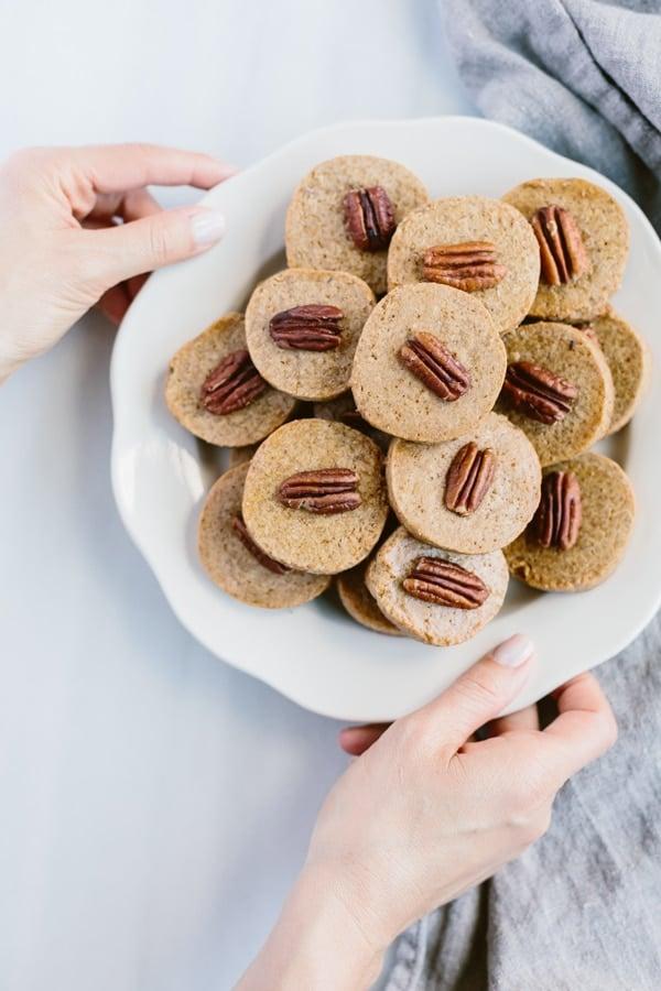 Naturally Sweetened Pecan Shortbread Cookies