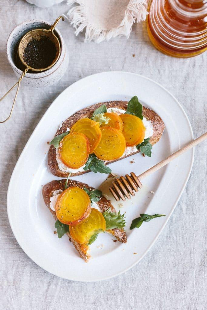 Roasted Golden Beet Ricotta Toast