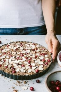Vegan and Maple-Sweetened Cranberry Almond Tart