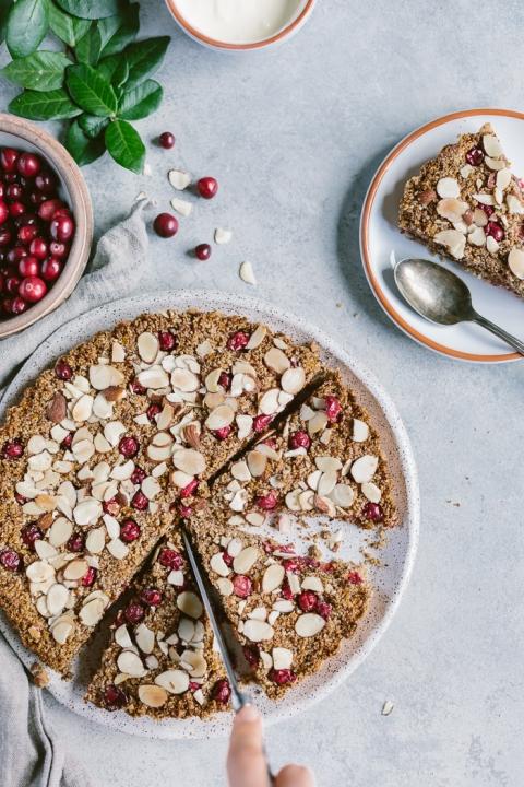 Maple-Sweetened and Vegan Cranberry Almond Tart