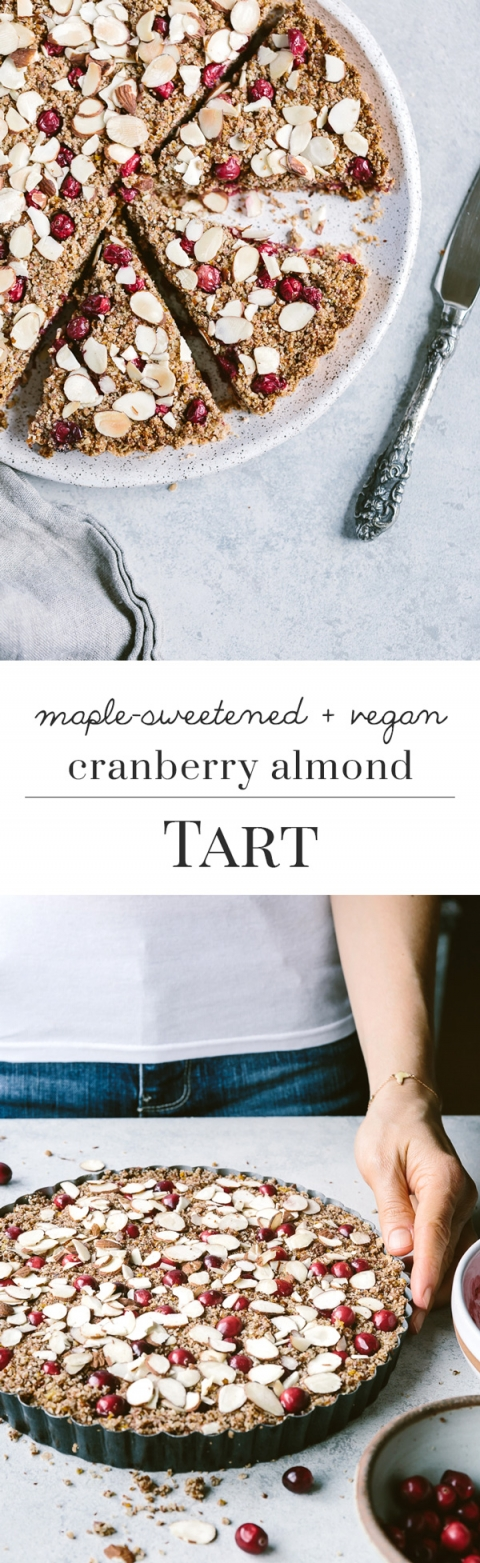 Vegan and Maple-Sweetened Cranberry Almond Tart