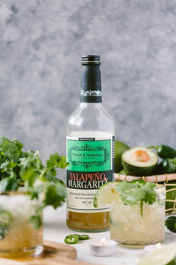 Cilantro-Infused Spicy Jalapeño Margaritas made with margarita mix (bottle in the picture)
