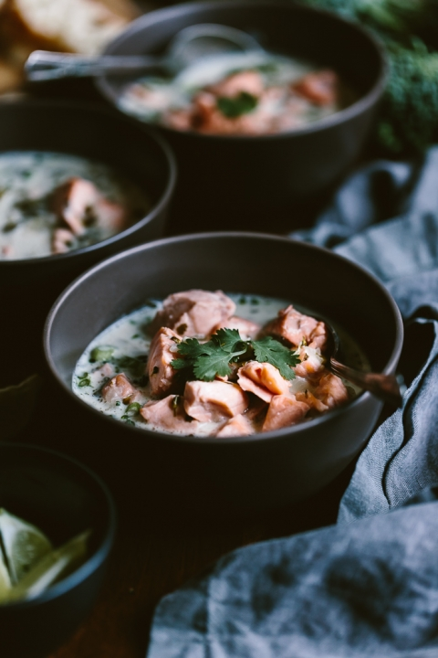 Salmon Coconut Chowder: A heartwarming seafood soup made with gently poaching salmon in a Thai-style coconut broth.