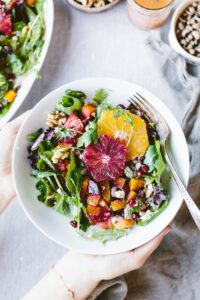 Citrusy Roasted Beet Goat Cheese salad with walnuts and black eyed peas recipe