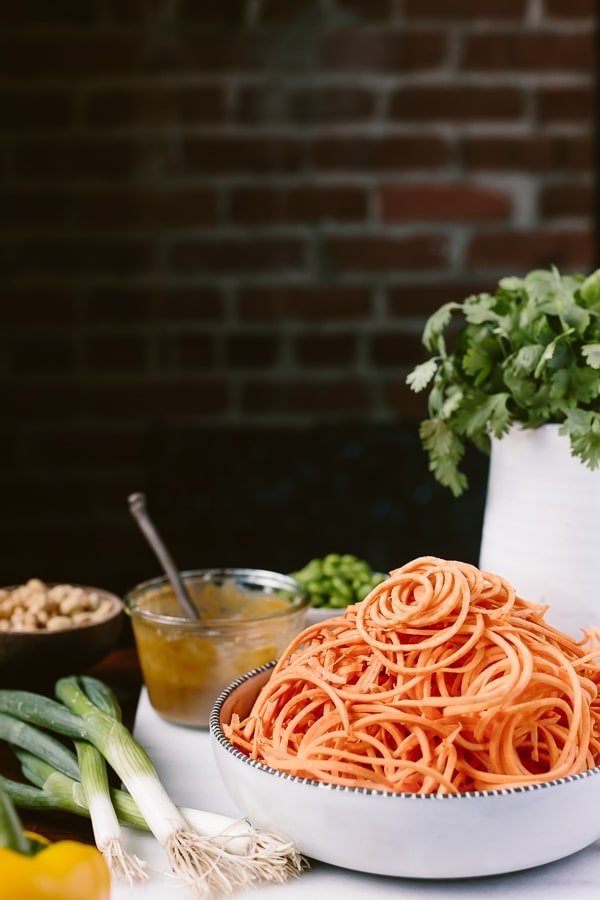Ingredients for pad thai with sweet potato noodles