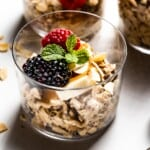 Overnight Muesli in a glass topped off with fruit