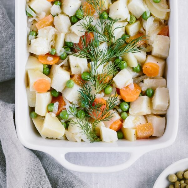 One-Pot Citrusy Winter Root Vegetables in a casserole dish