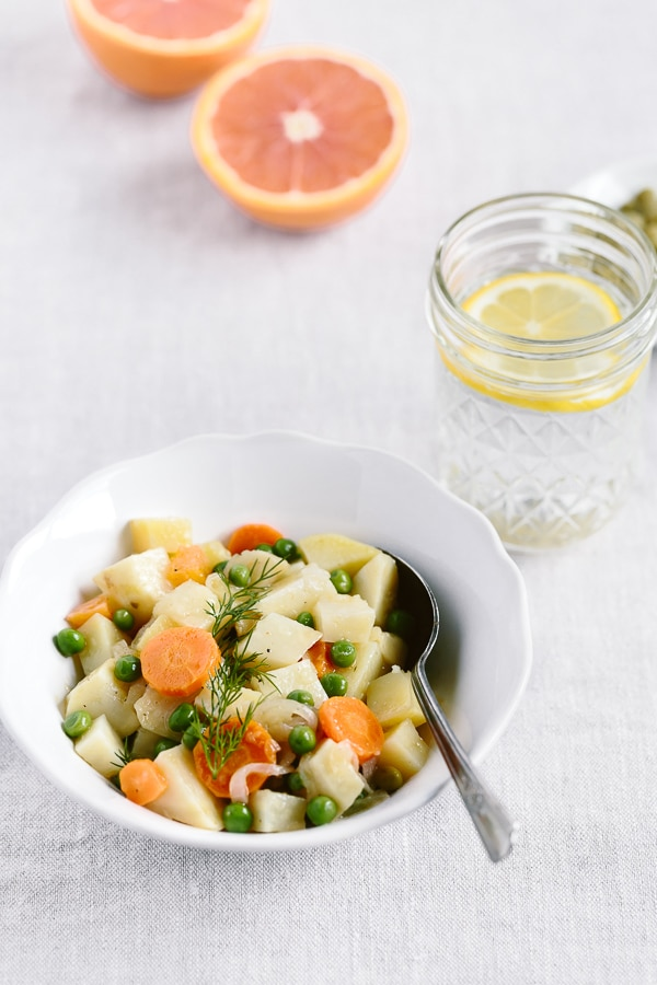 One-Pot Citrusy Winter Root Vegetables: A vegan and gluten-free, one pot dish made with cooking together celery root, potatoes, and carrots with olive oil and orange juice.