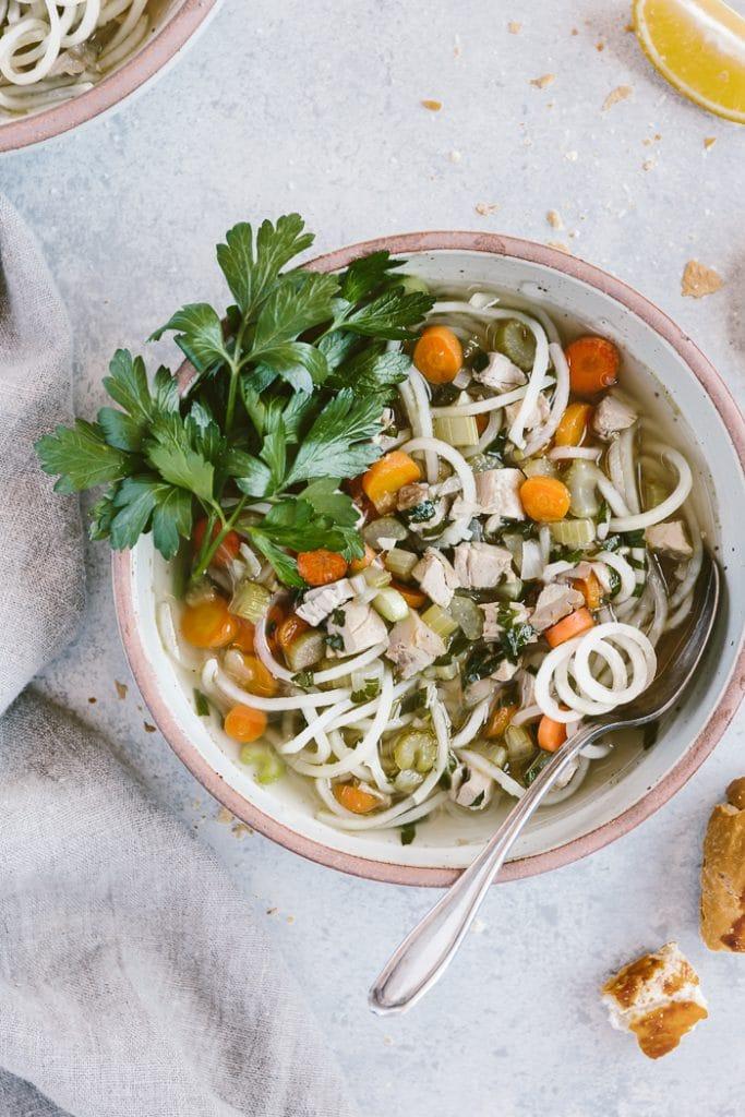 """Chicken Potato """"Noodle"""" Soup"""