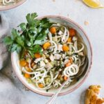 Chicken Potato Noodle Soup: Classic chicken noodle soup made with spiralized potato noodles. Healing, filling, and healthy.