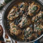 Chicken Thighs with almond puree in a skillet