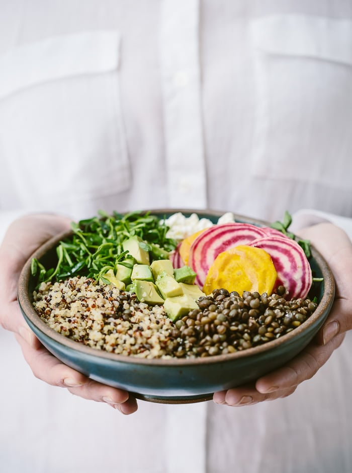 Spring Abundance Bowl: A healthy bowl of vegetarian spring produce flavored with goat cheese.