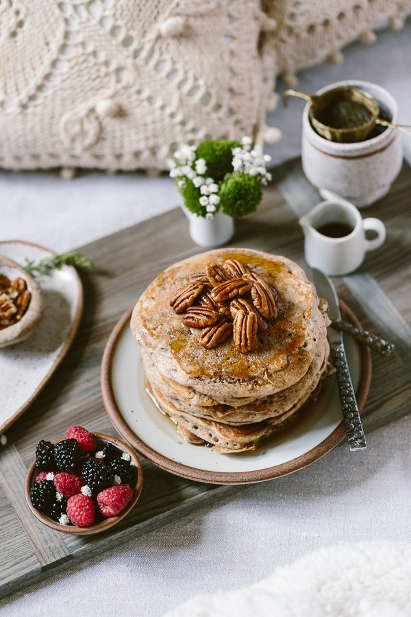 Learn How to Make Buckwheat Pancake Recipe & serve it for your mom - showcasing the set up on a bed