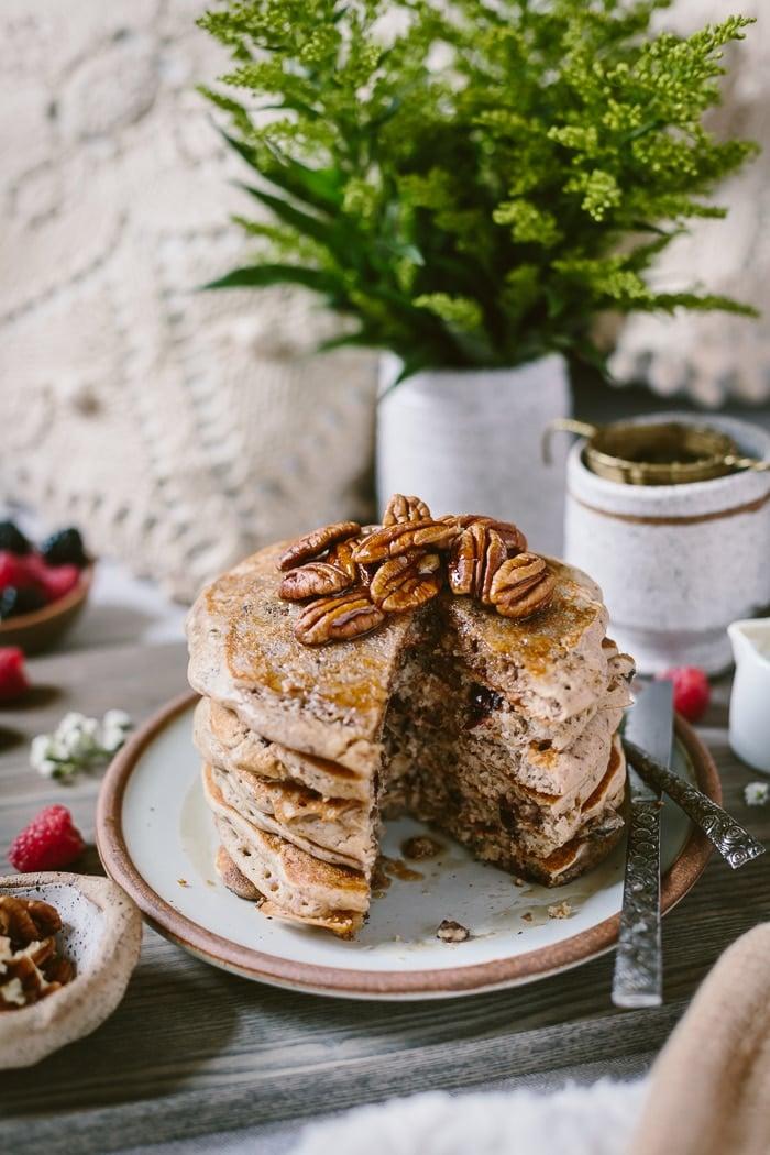 Half eaten Gluten Free Buckwheat Buttermilk Pancakes front view