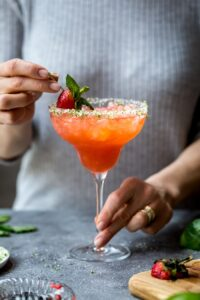 Take your margarita game to the next level with this Strawberry Champagne Margarita: Step by step guide to how to make margaritas