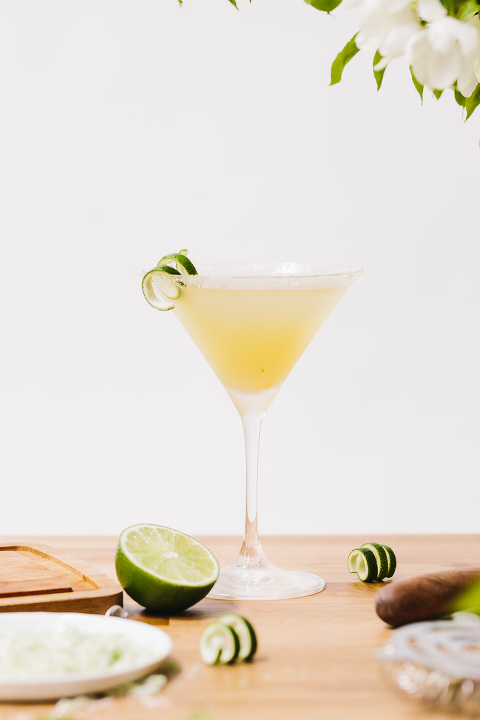 Recipe for Lime Drop Martini made with mint flavored simple syrup.
