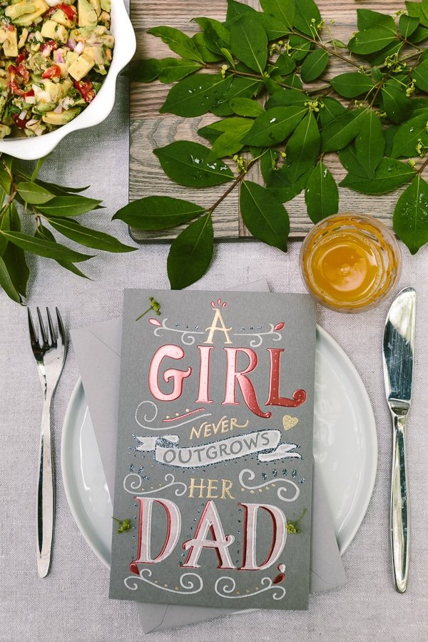 A tables set up with a greeting card - Steak Taco Marinade Recipe shared for Flank Steak Tacos