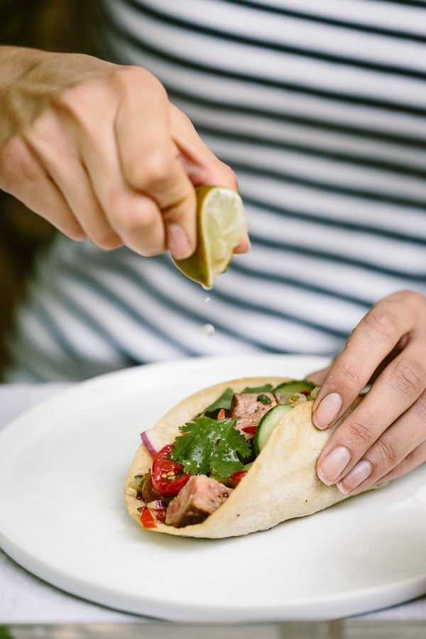Recipe for Grilled Flank Steak Tacos with a foolproof flank steak marinade that will wow everyone in your family.