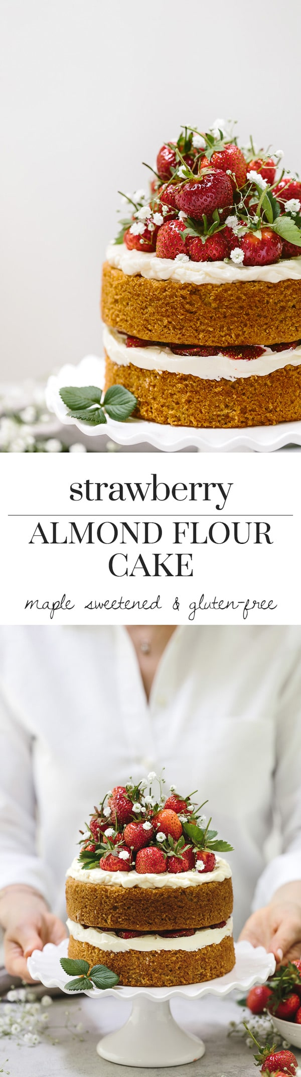 Strawberry Almond Flour Cake Recipe: Celebrate strawberry season with this gluten-free and maple-sweetened strawberry almond flour cake that is flavored with mascarpone whipped cream.