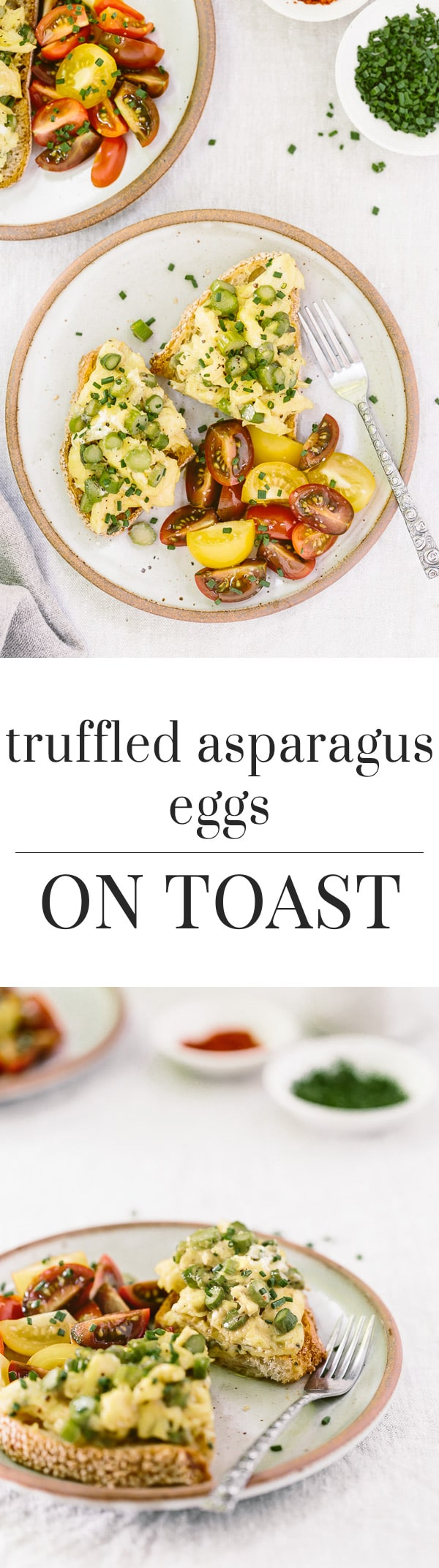 Truffled Asparagus Eggs on Toast Recipe: A quick and easy open-face sandwich recipe made with asparagus sautéed with truffle oil and mixed with eggs and goat cheese.