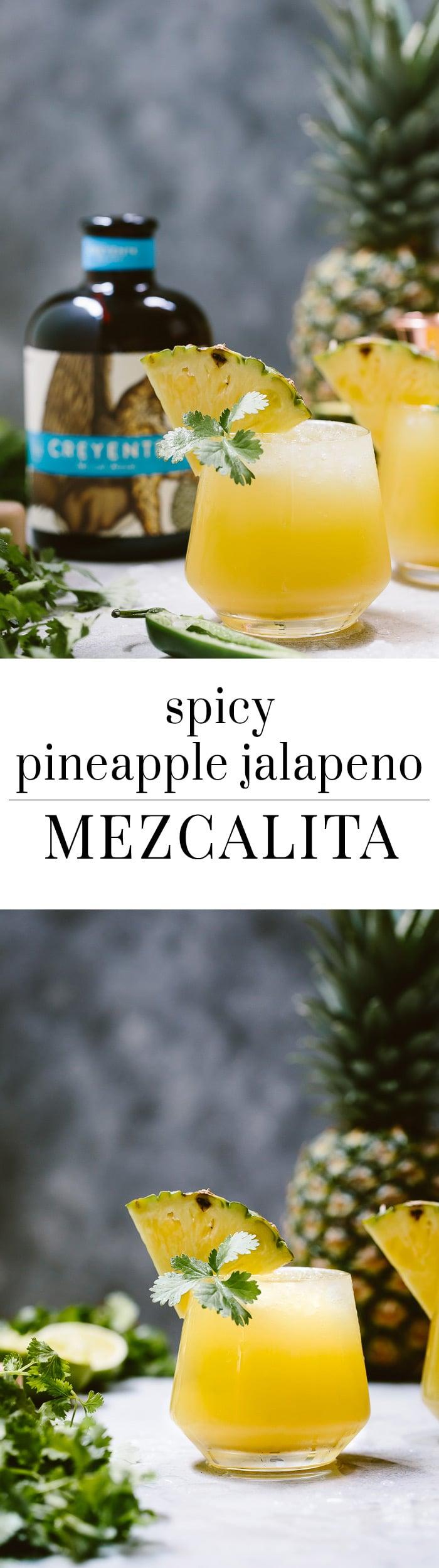 Spicy Pineapple Jalapeno Mezcalita - A refreshing cocktail made with Mezcal, pineapple, jalapenos, and cilantro.