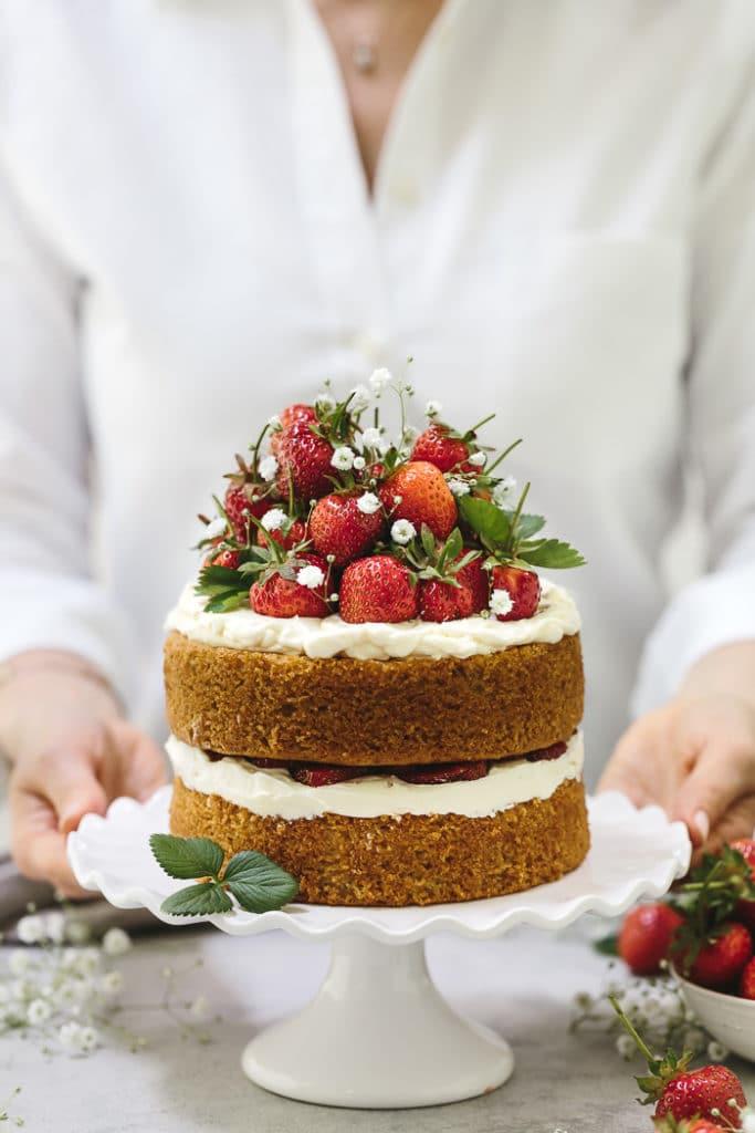 Strawberry Almond Flour Cake