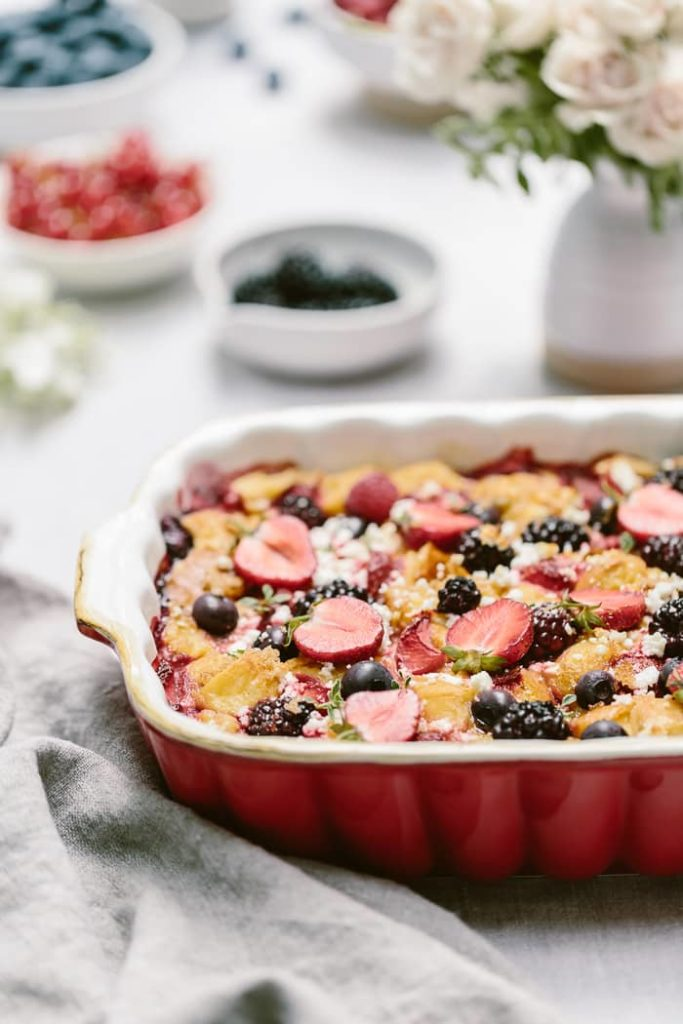 Maple Sweetened Mixed Berry Goat Cheese Bread Pudding