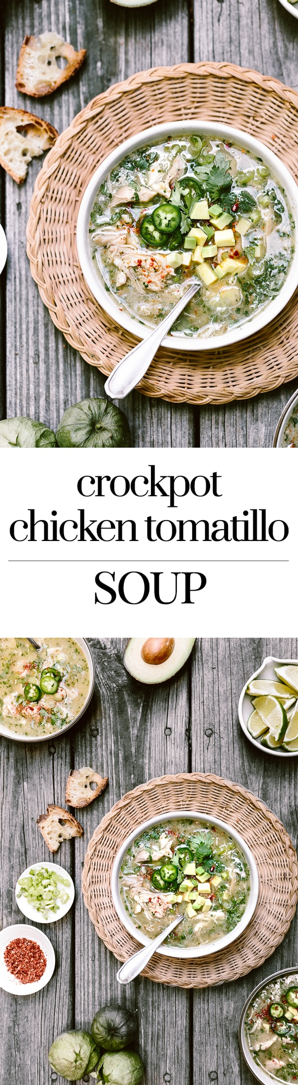 Crockpot Chicken Tomatilla Soup Recipe. Place all the recipes in your slow cooker and have a bowl of hearty soup ready in 8 hours.