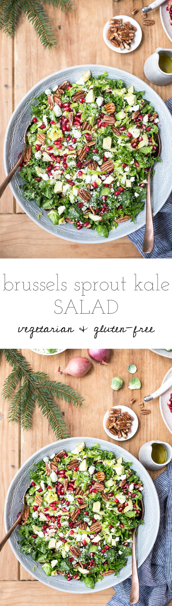 Brussels Sprout Kale Salad - A vegetarian salad made with shredded brussels sprouts, kale, maple-roasted pecans, and pomegranate arils. A great way to add color to your holiday table.