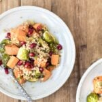 Roasted Brussels Sprouts and Sweet Potatoes with quinoa recipe image