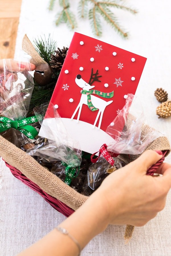 Beautiful Christmas greeting cards is packed with the homemade chocolate almond bark