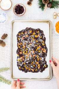 Coconut oil based and maple-sweetened Chocolate Almond Bark recipe