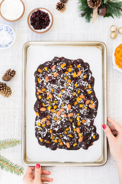 Chocolate Almond Bark Recipe Coconut oil based and maple-sweetened Chocolate Almond Bark recipe held by a woman