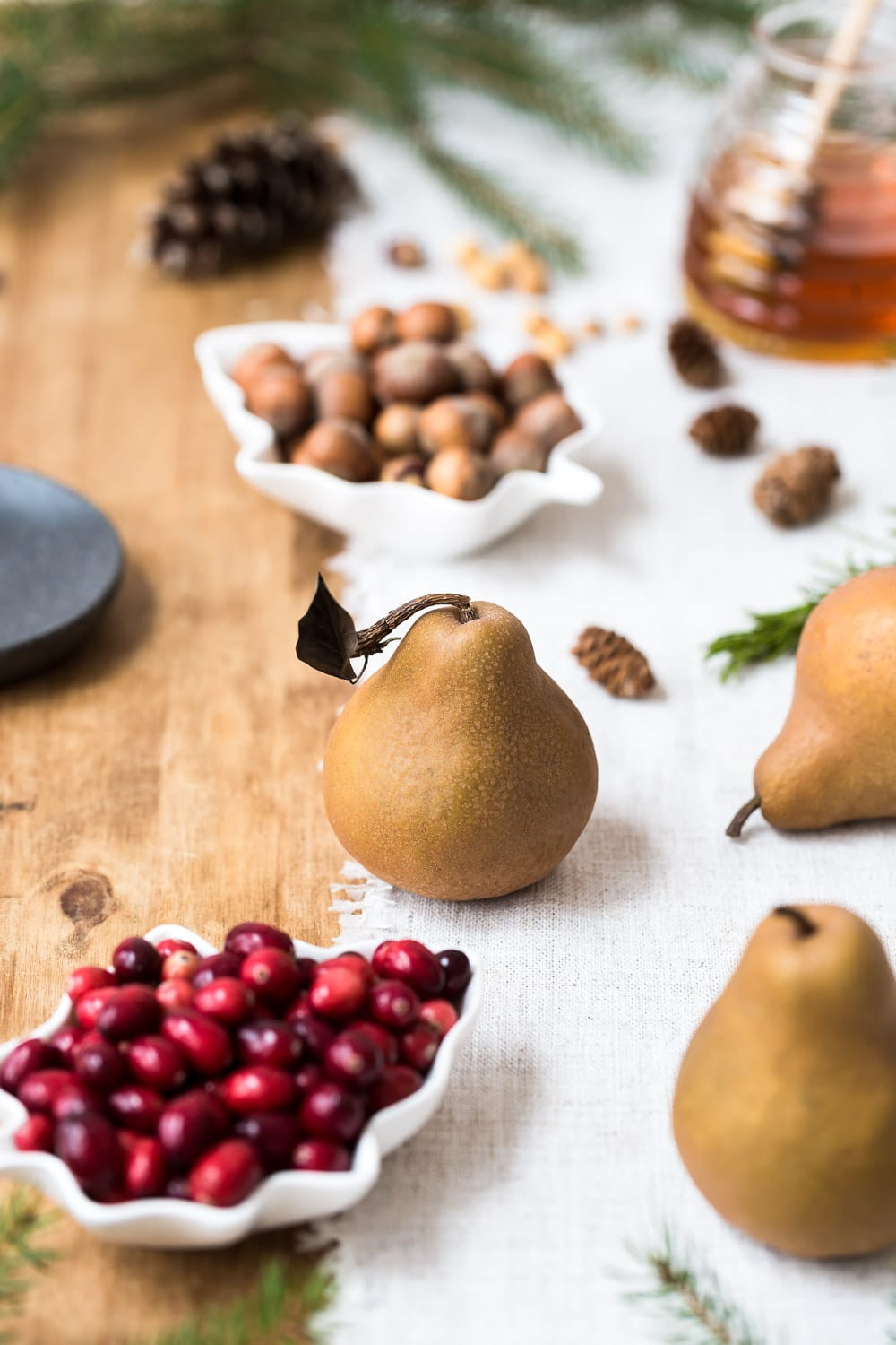 Ingredients for Cranberry Poached Pears are laid out