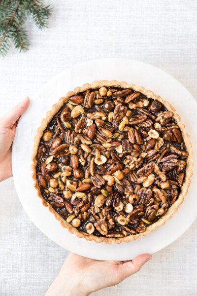 Freshly baked Caramel Nut Tart right out of the oven.