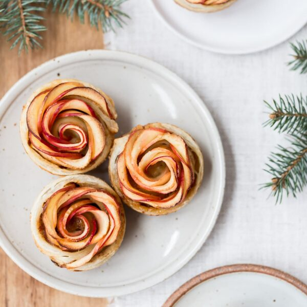 How to Make Apple Roses - Showcasing 3 finished apple roses from the top view.