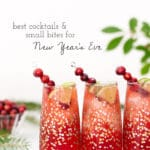 3 Cranberry Margaritas photographed from the front view in a festive holiday-like setting.