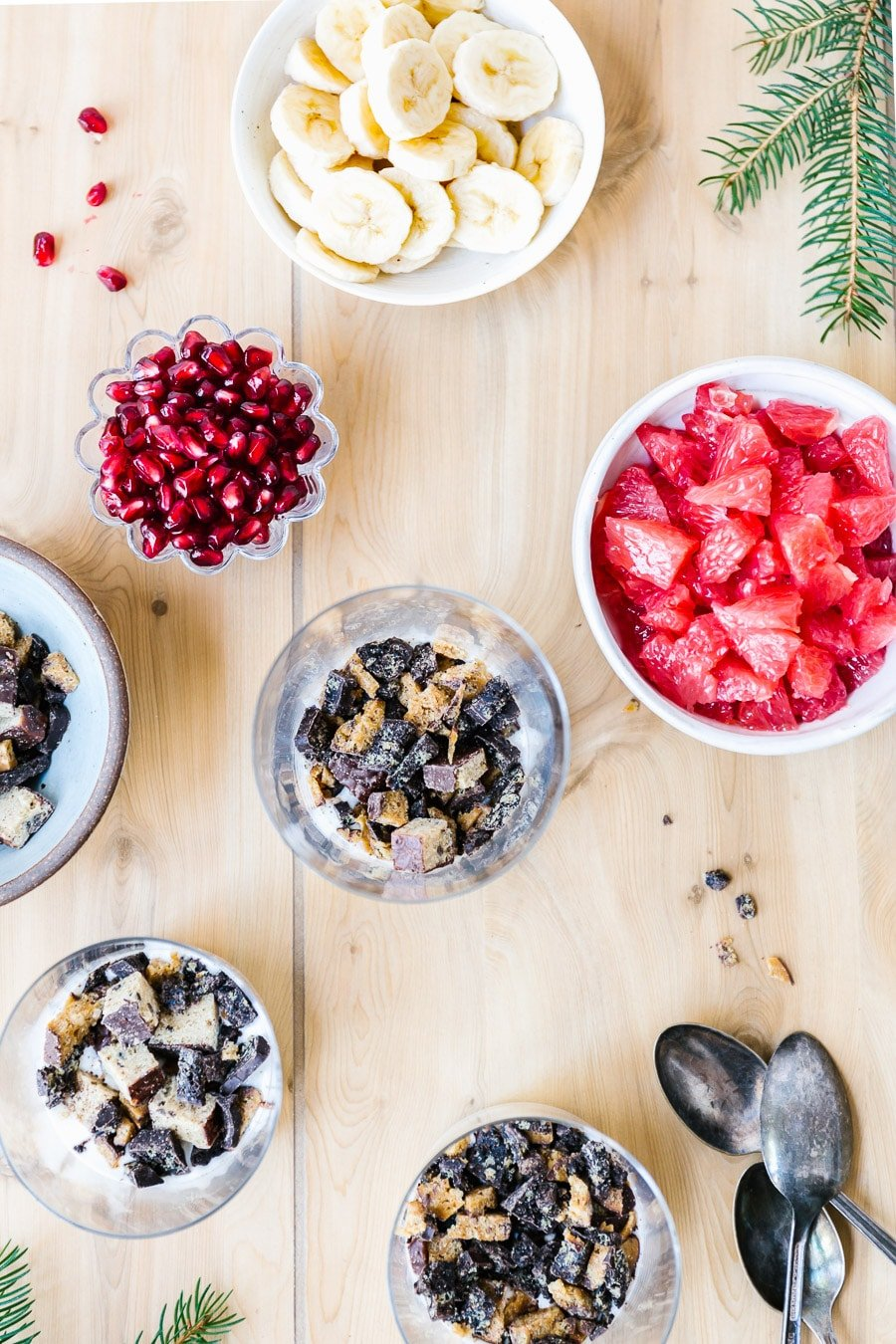 Ingredients of layered yogurt parfait are laid out