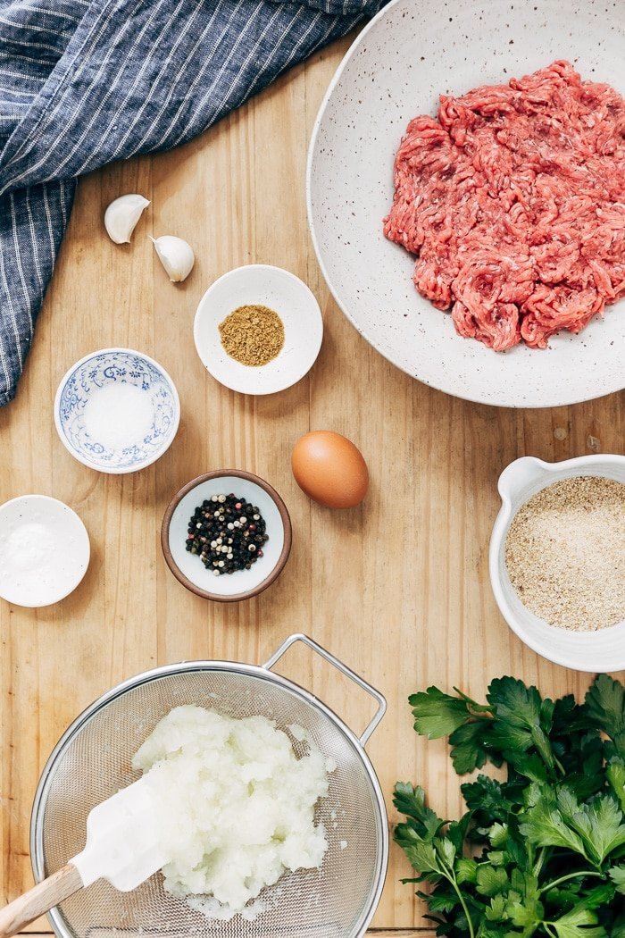 Ingredients for Turkish Meatballs are photographed from the top view.