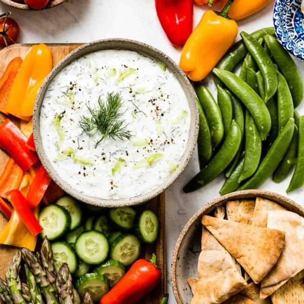 Authentic Tzatziki Sauce Recipe with fresh vegetables