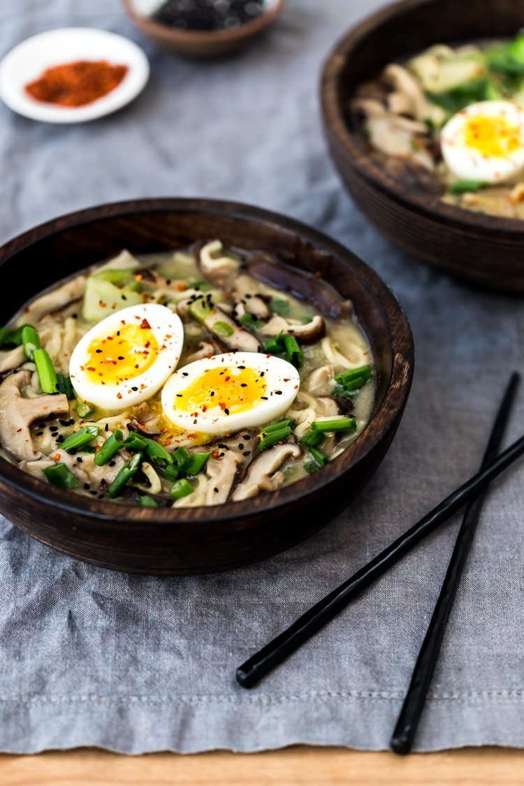 Learn how to make Vegetarian Ramen - A bowl of Weeknight Vegetarian Ramen Bowl with Shiitake Mushrooms and Bok Choy is photographed from the front view - close up.