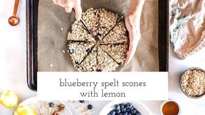Blueberry spelt scones with lemon