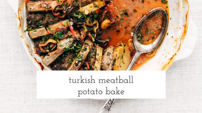 A half eaten Turkish Meatball Potato Bake is photographed from the